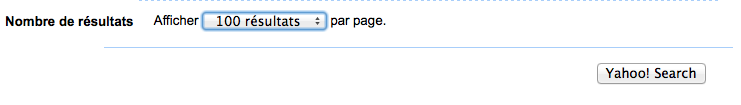 """Choisissez 100 résultats par page puis cliquez sur """"Yahoo! Search"""""""