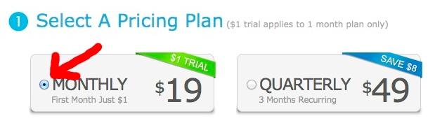 Étape 2 - Inscription pour 1$ par mois