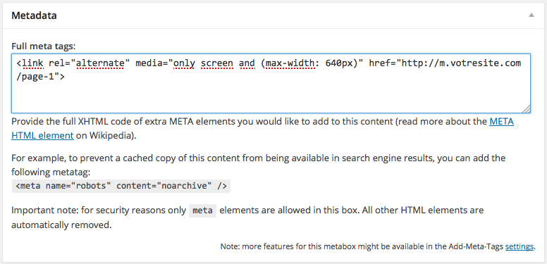 "Ajouter la balise rel=""alternate"" sur mesure avec WordPress"